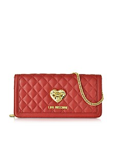 Red and Black Quilted Wallet On Chain - Love Moschino