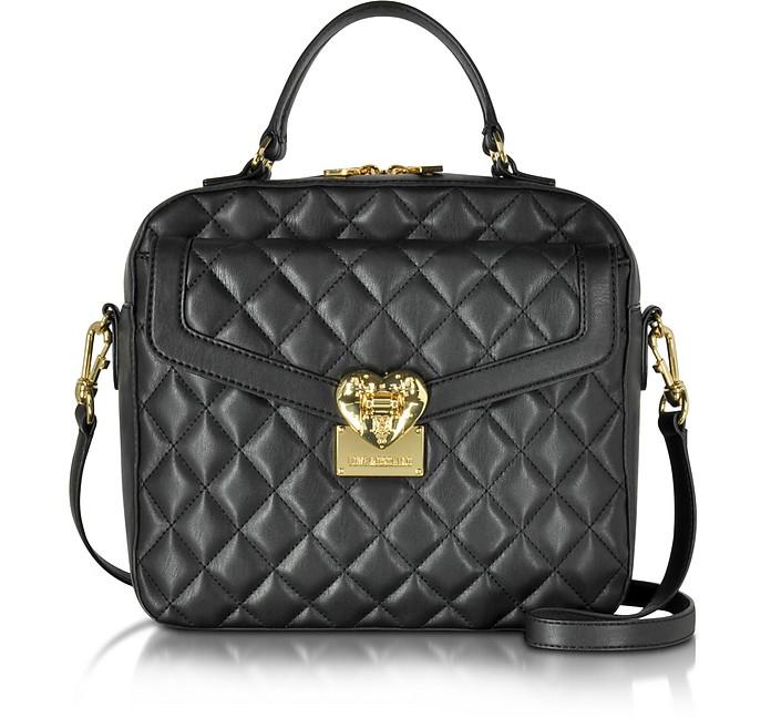 Black Quilted Handbag - Love Moschino