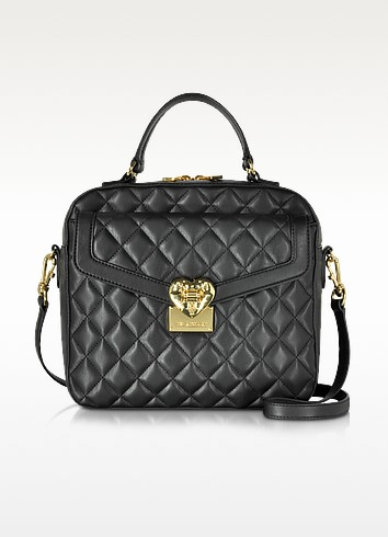 Black Quilted Handbag - Love Moschino