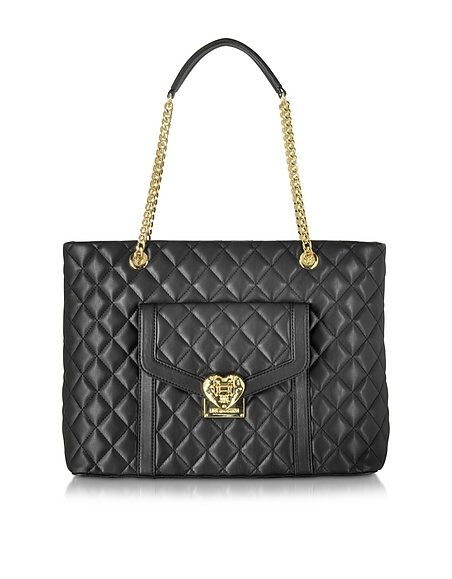 Foto Love Moschino Heart Shopper in Eco Pelle Matelassè con Zip Borse donna