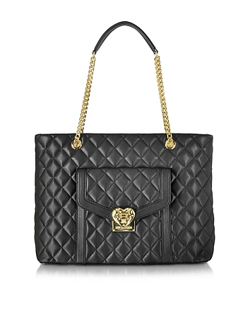 Heart Quilted Black Eco Leather Tote Bag