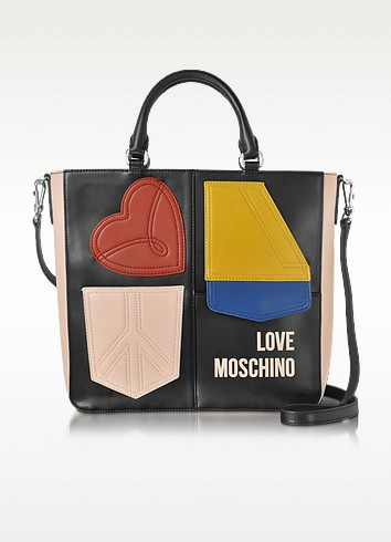 Love Moschino Сумка Tote Печворк с Цветными Блоками Эко-Кожи