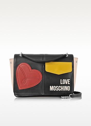 Love Moschino Сумка на Плечо с Цветными Блоками Пэчворк из Эко Кожи