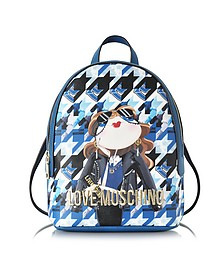 Girl Digital Print Eco Saffiano Leather Small Backpack - Love Moschino