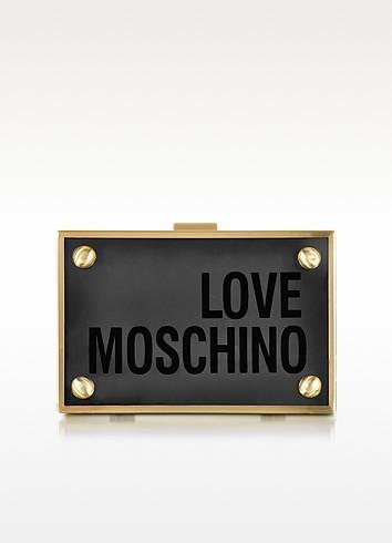 Transparent Plexiglass Signature Clutch - Love Moschino