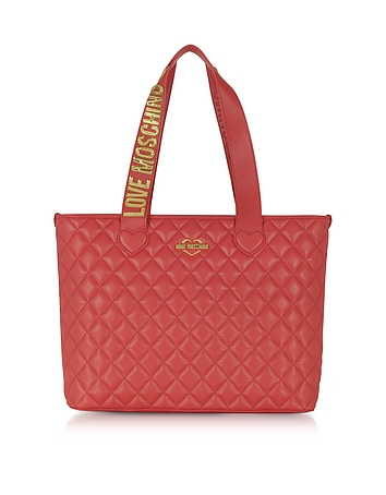 Fashion Red Quilted Eco-Leather Tote Bag