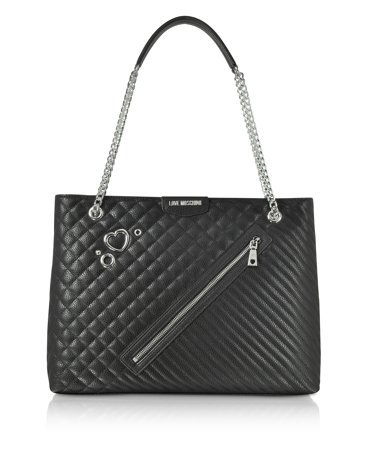 Image of Love Moschino Designer Handbags, Black Quilted Eco Leather Tote Bag