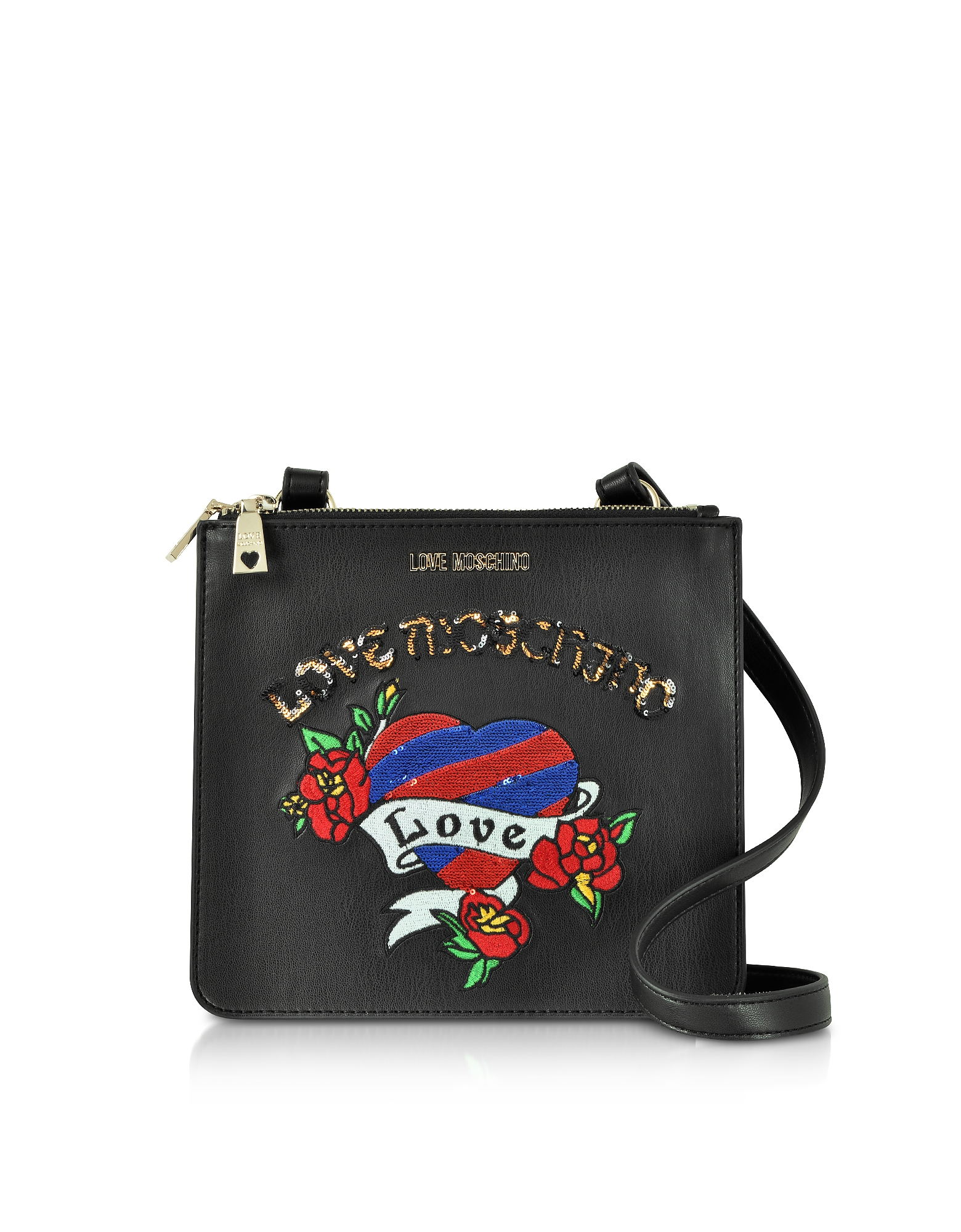 Image of Love Moschino Designer Handbags, Black Love Embroidered Shoulder Bag