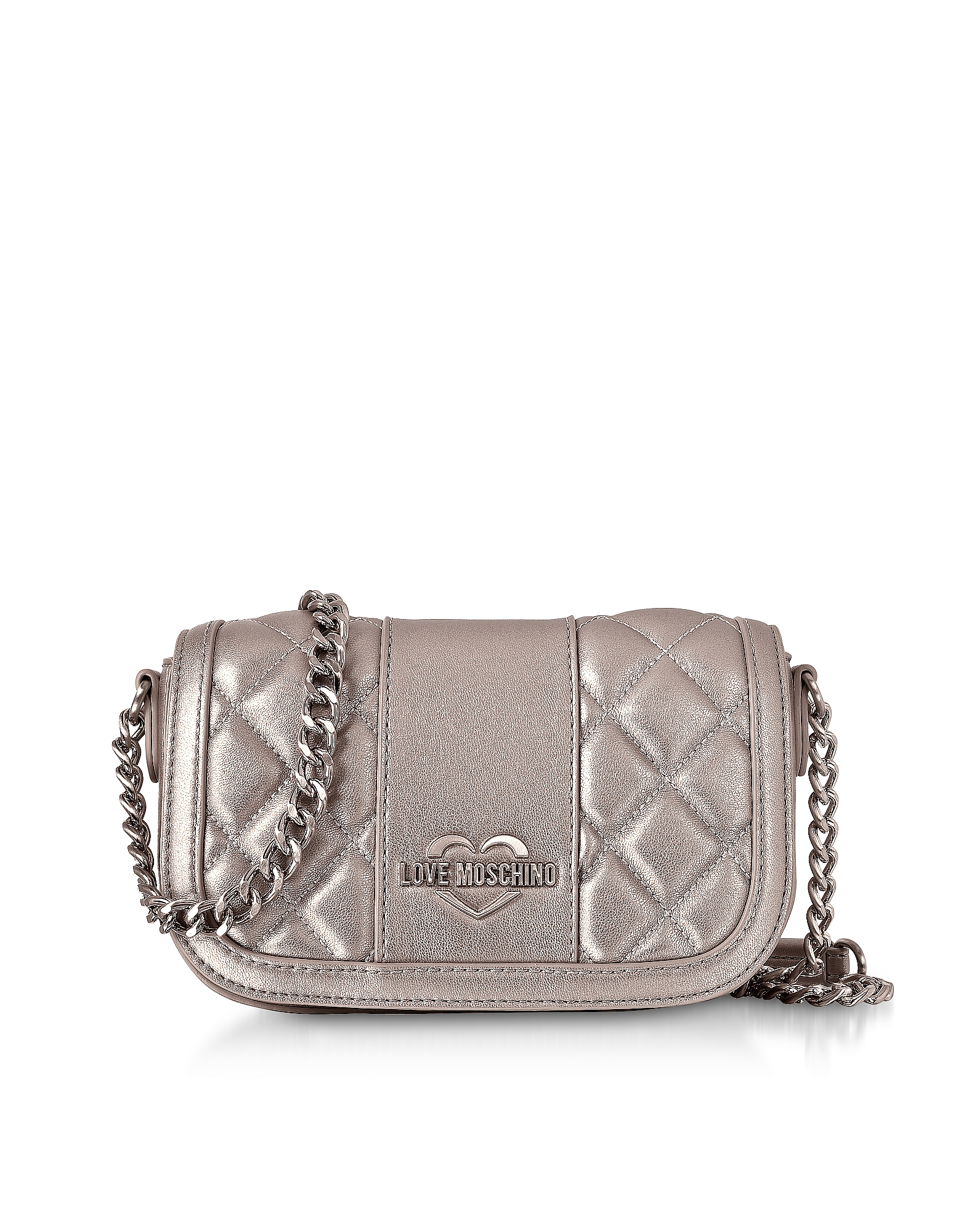 Love Moschino Handbags, Metallic Quilted Eco Leather Mini Shoulder Bag