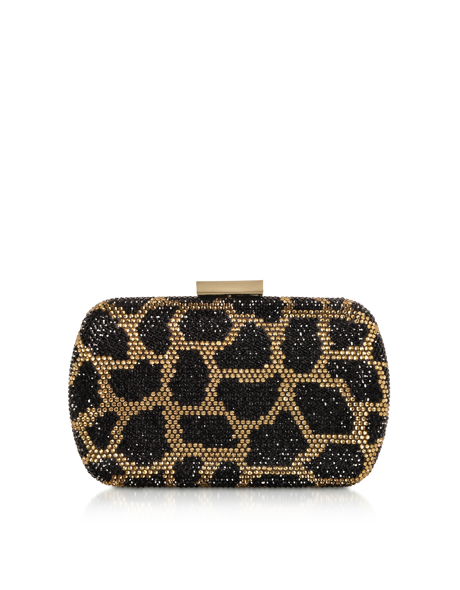 Image of Love Moschino Designer Handbags, Black and Gold Satin Clutch
