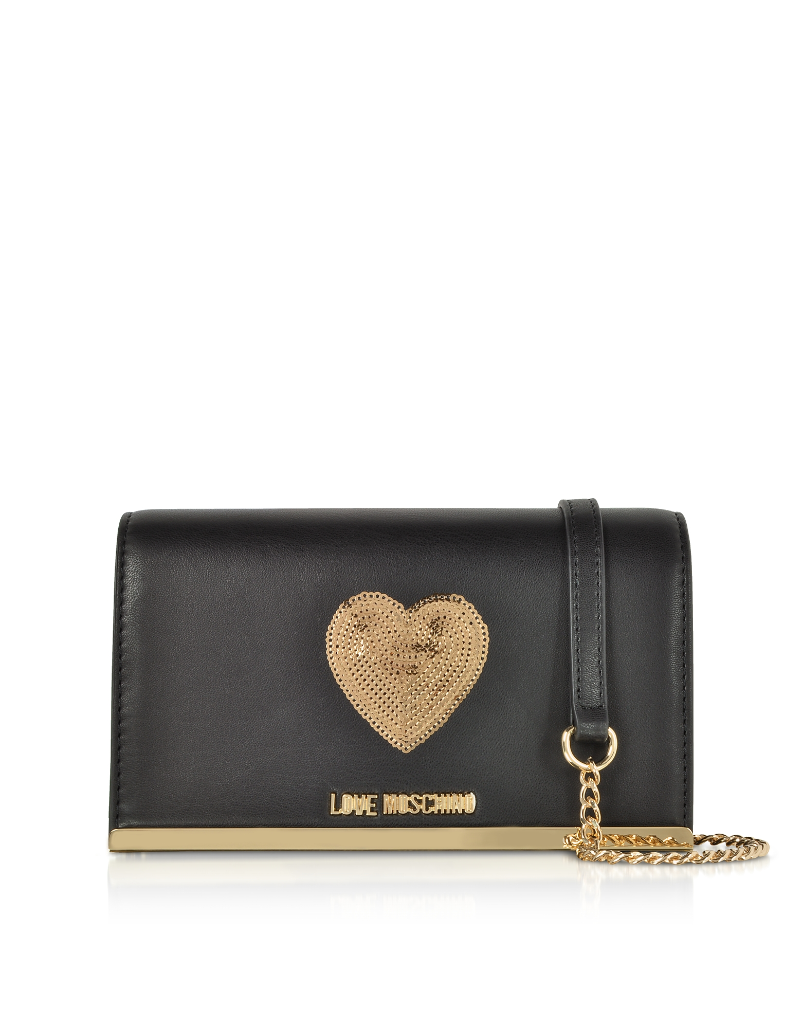 Love Moschino Handbags, Sequin Heart Eco Leather Clutch w/Chain Strap