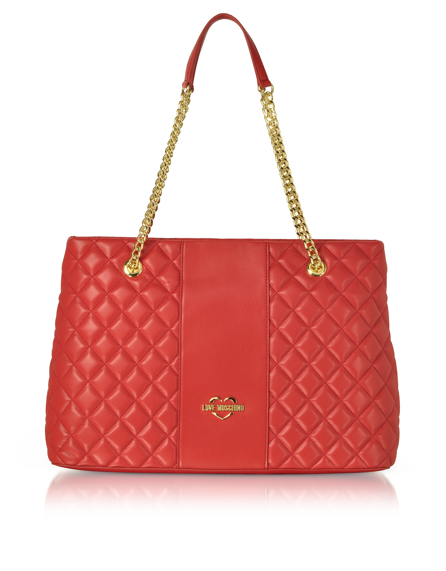 LOVE MOSCHINO Quilted Eco Leather Tote Bag in Red
