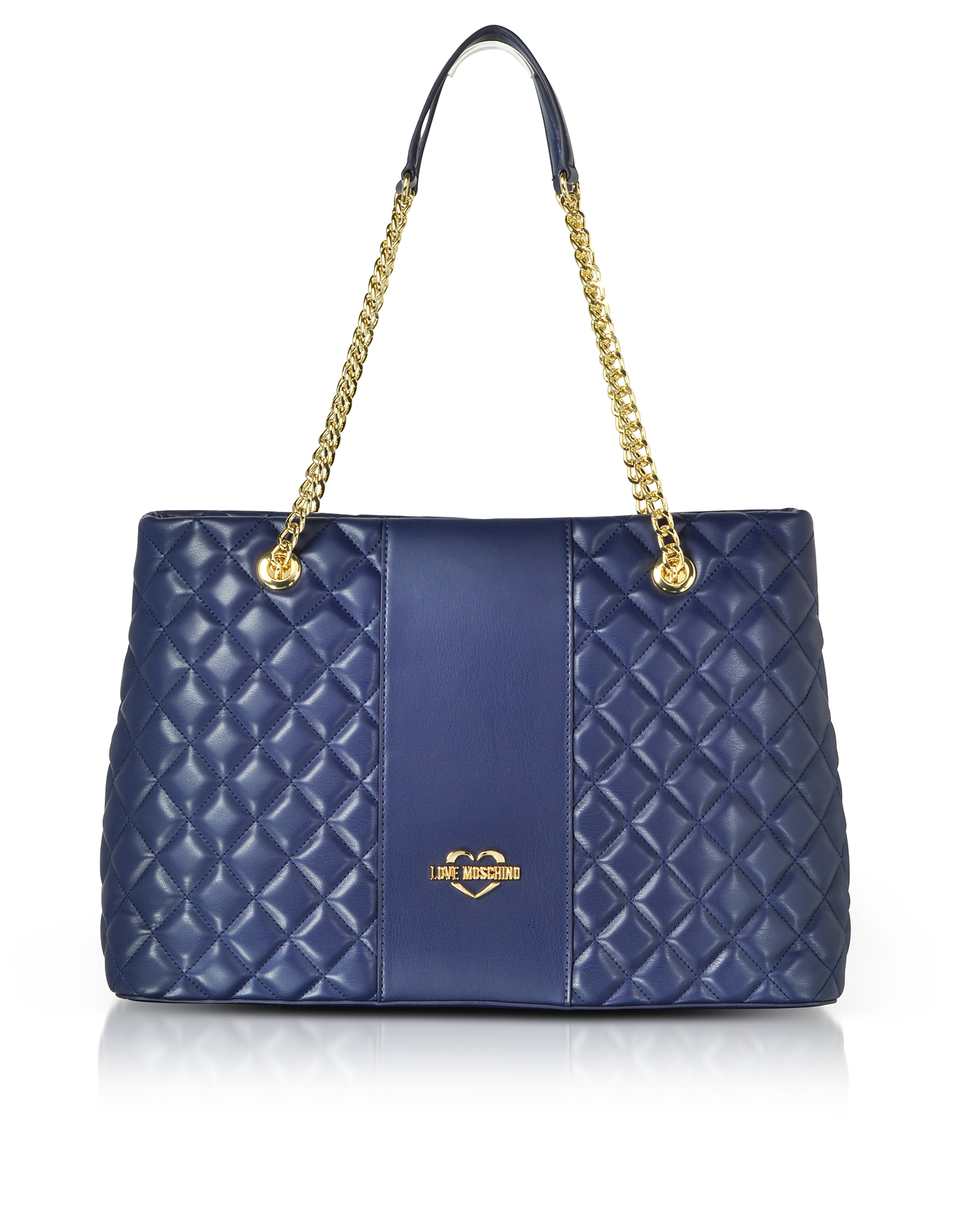 LOVE MOSCHINO Quilted Eco Leather Tote Bag in Blue