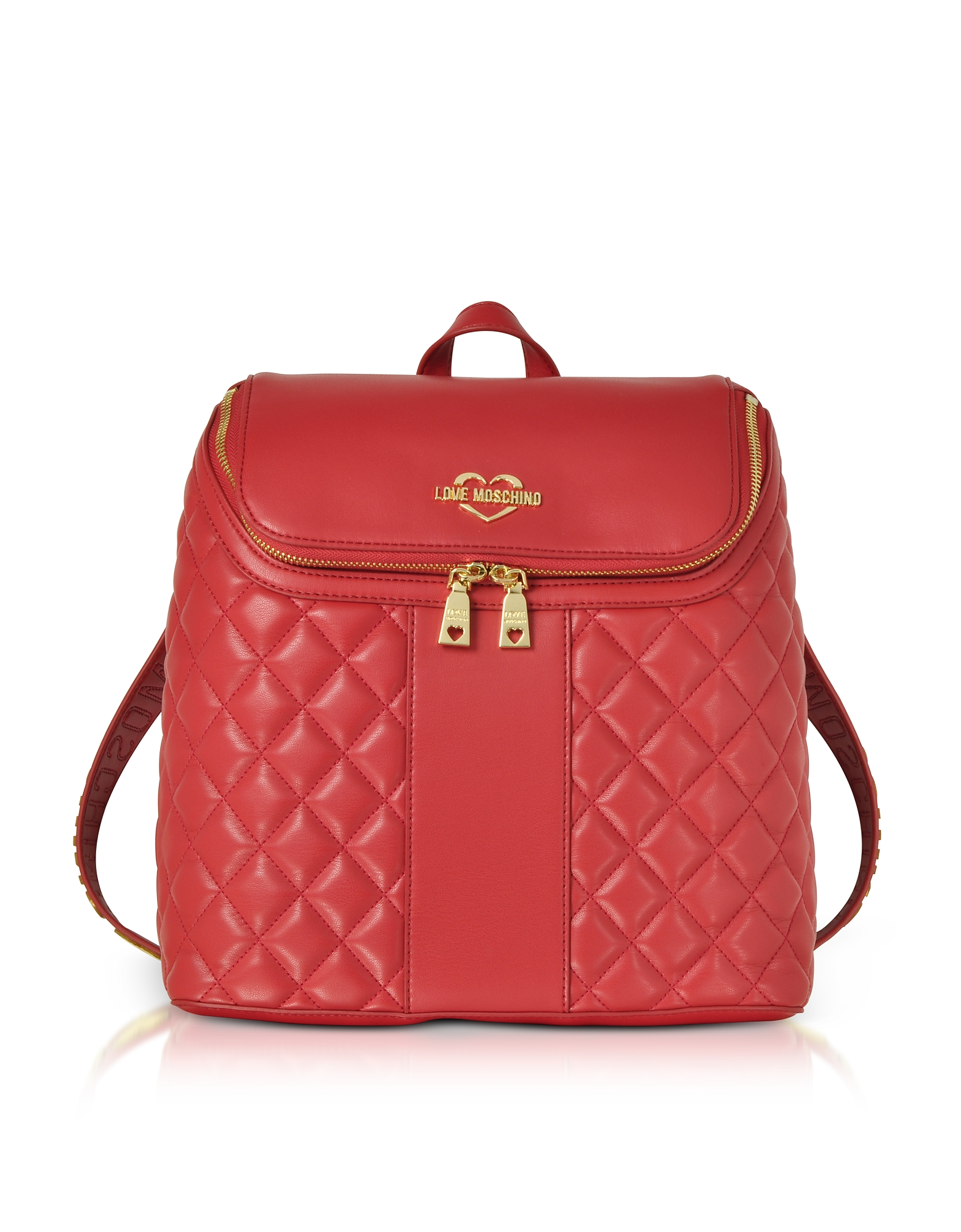 LOVE MOSCHINO Quilted Eco Leather Backpack in Red