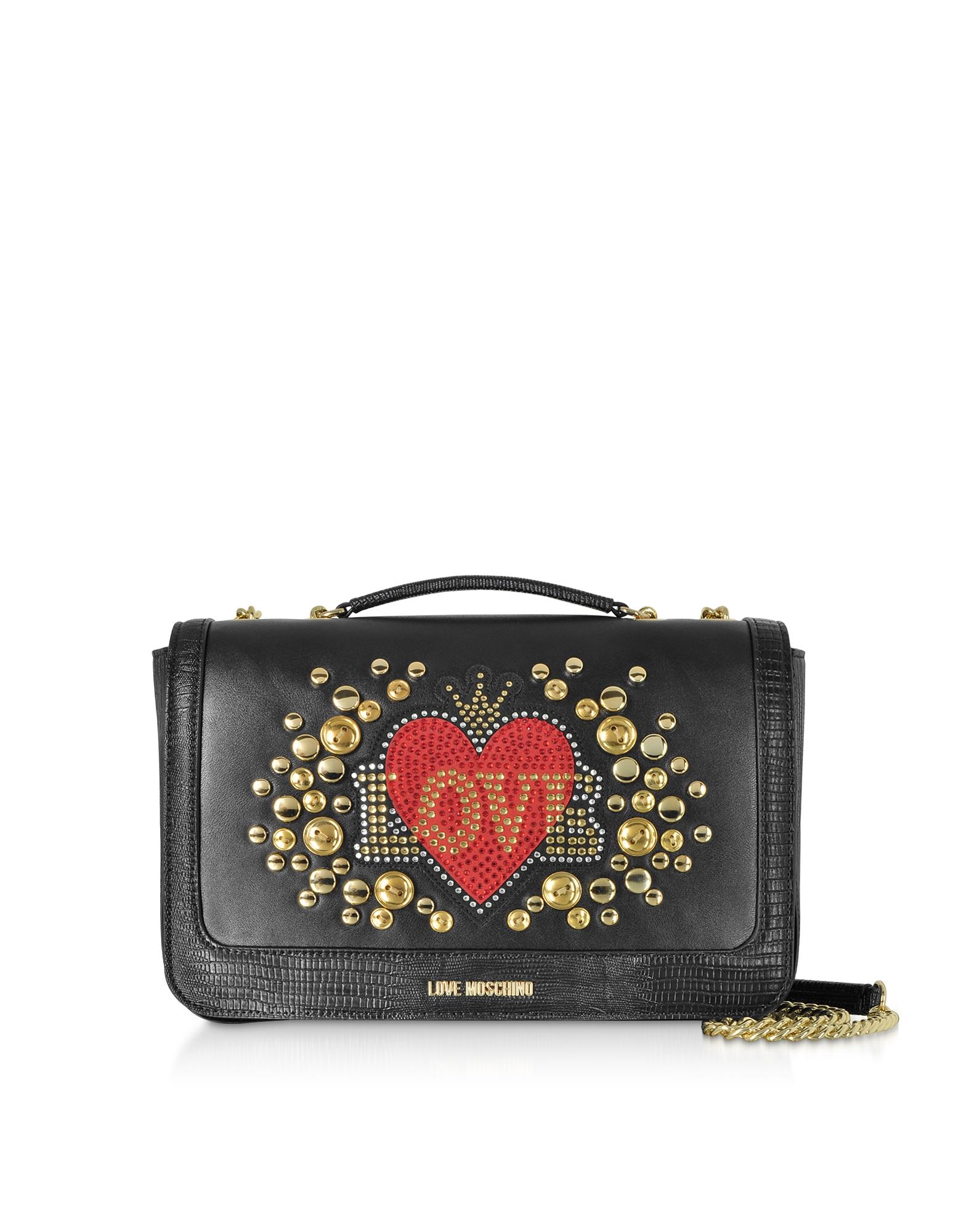 Black Eco-leather Shoulder Bag w/ Heart Crystals