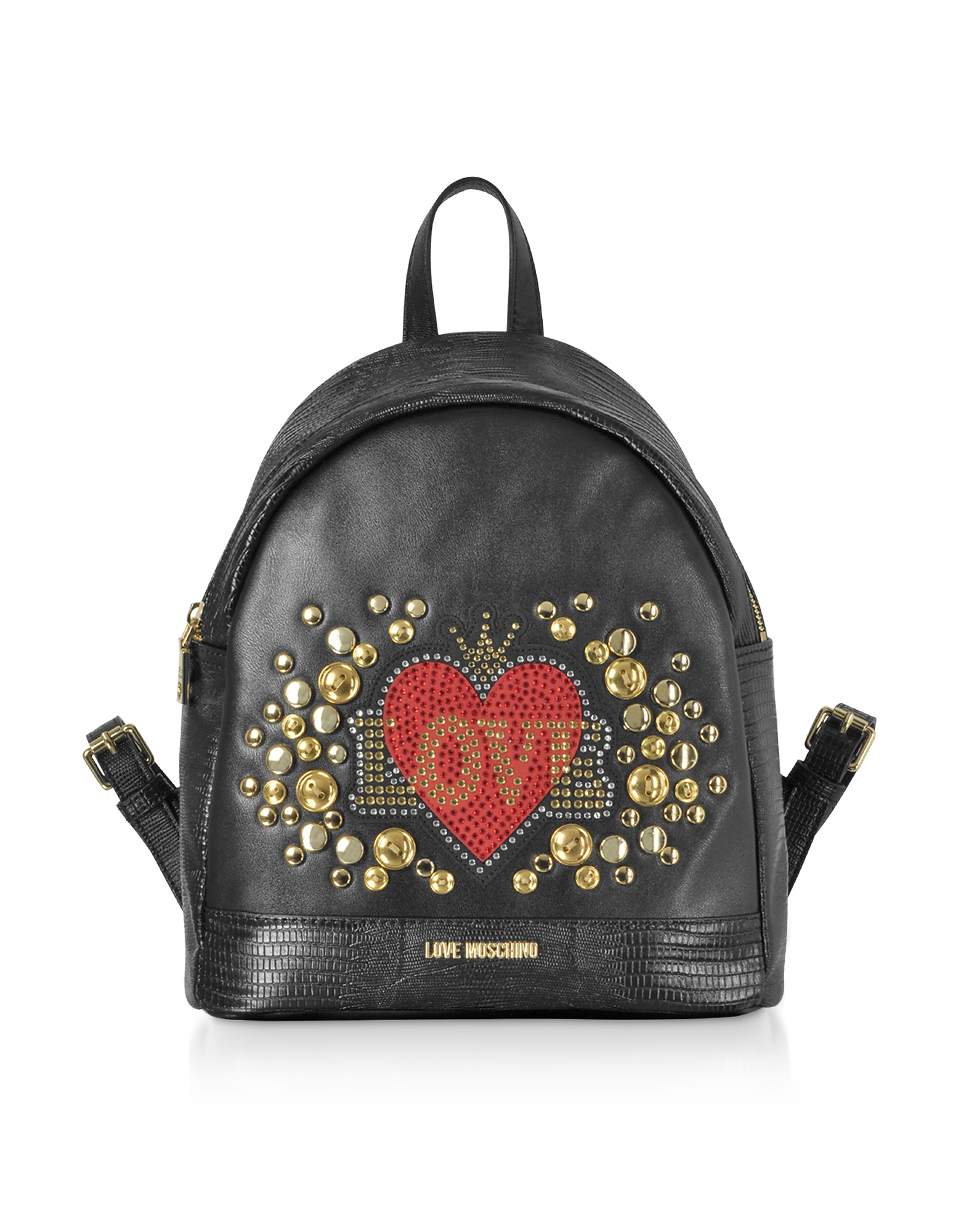 Black Eco-leather Backpack w/ Heart Crystals
