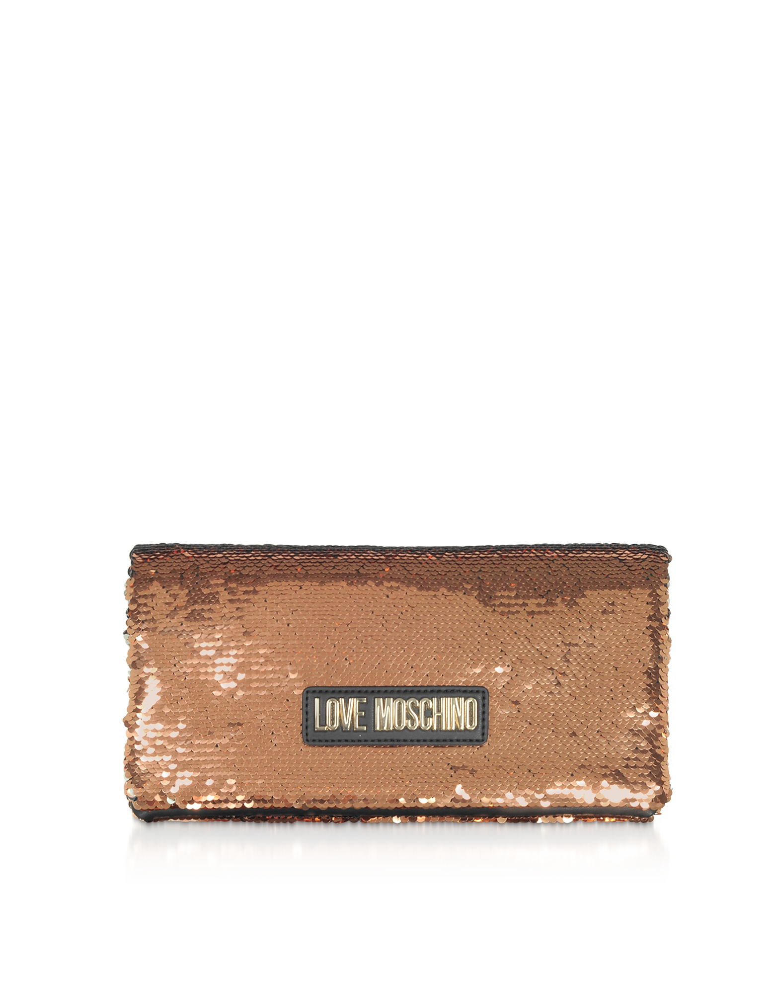 Love Moschino Designer Handbags, Rose Gold Sequins Clutch w/ Chain Straps