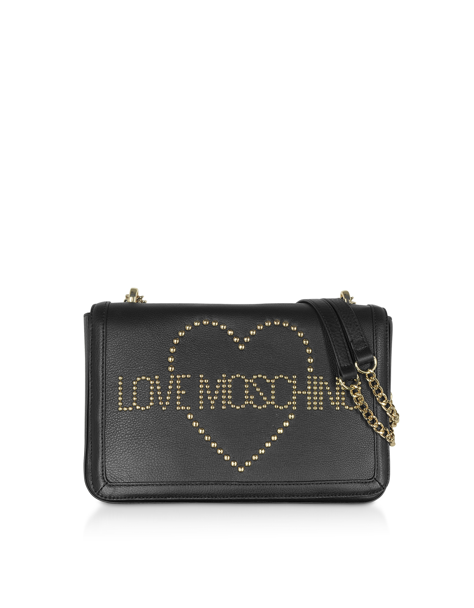 Love Moschino Designer Handbags, Signature Golden Studs Black Leather Shoulder Bag