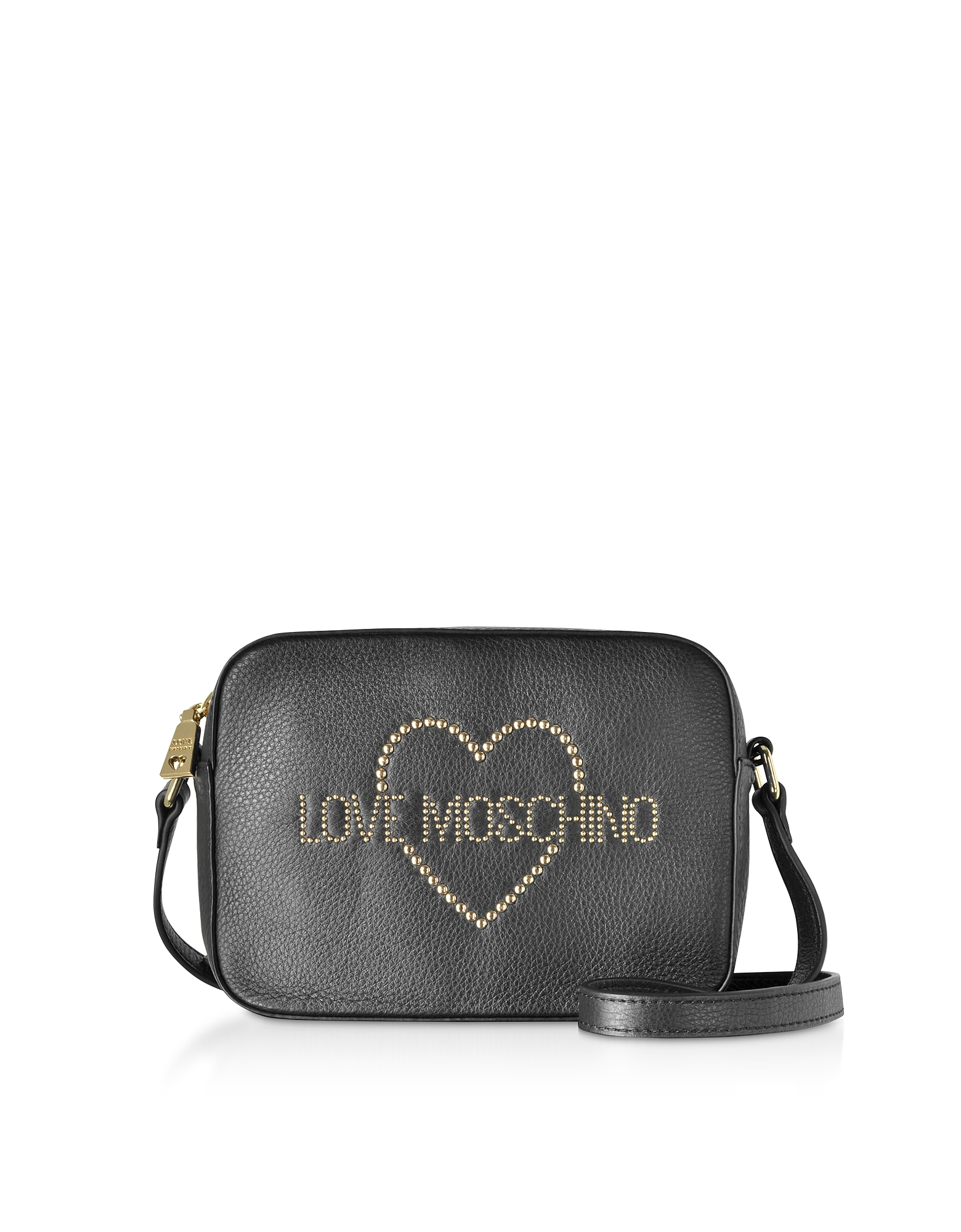 Love Moschino Designer Handbags, Small Leather Crossbody bag w/ Golden Studs