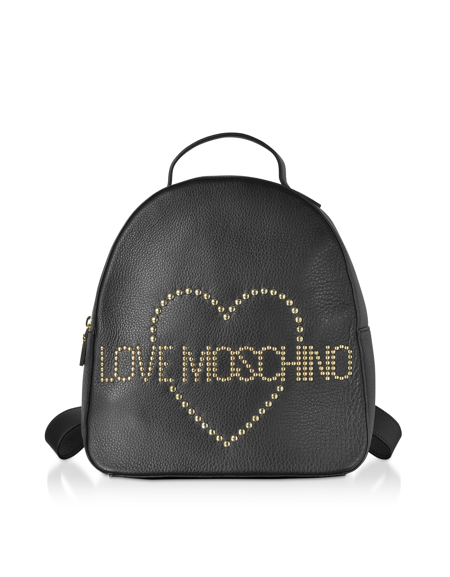 Love Moschino Designer Handbags, Black Leather Backpack w/ Golden Studs