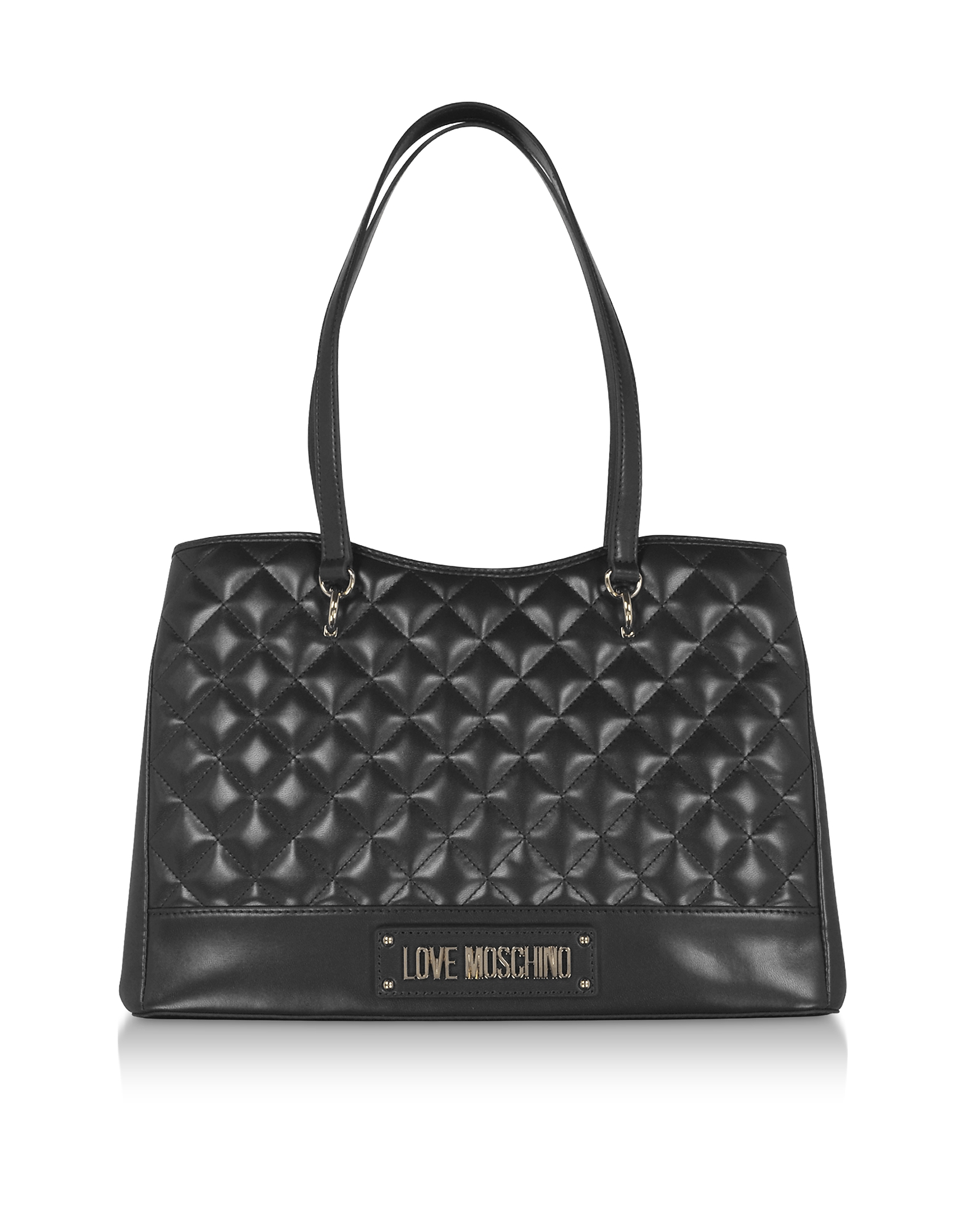 Black Quilted Eco-Leather Tote Bag