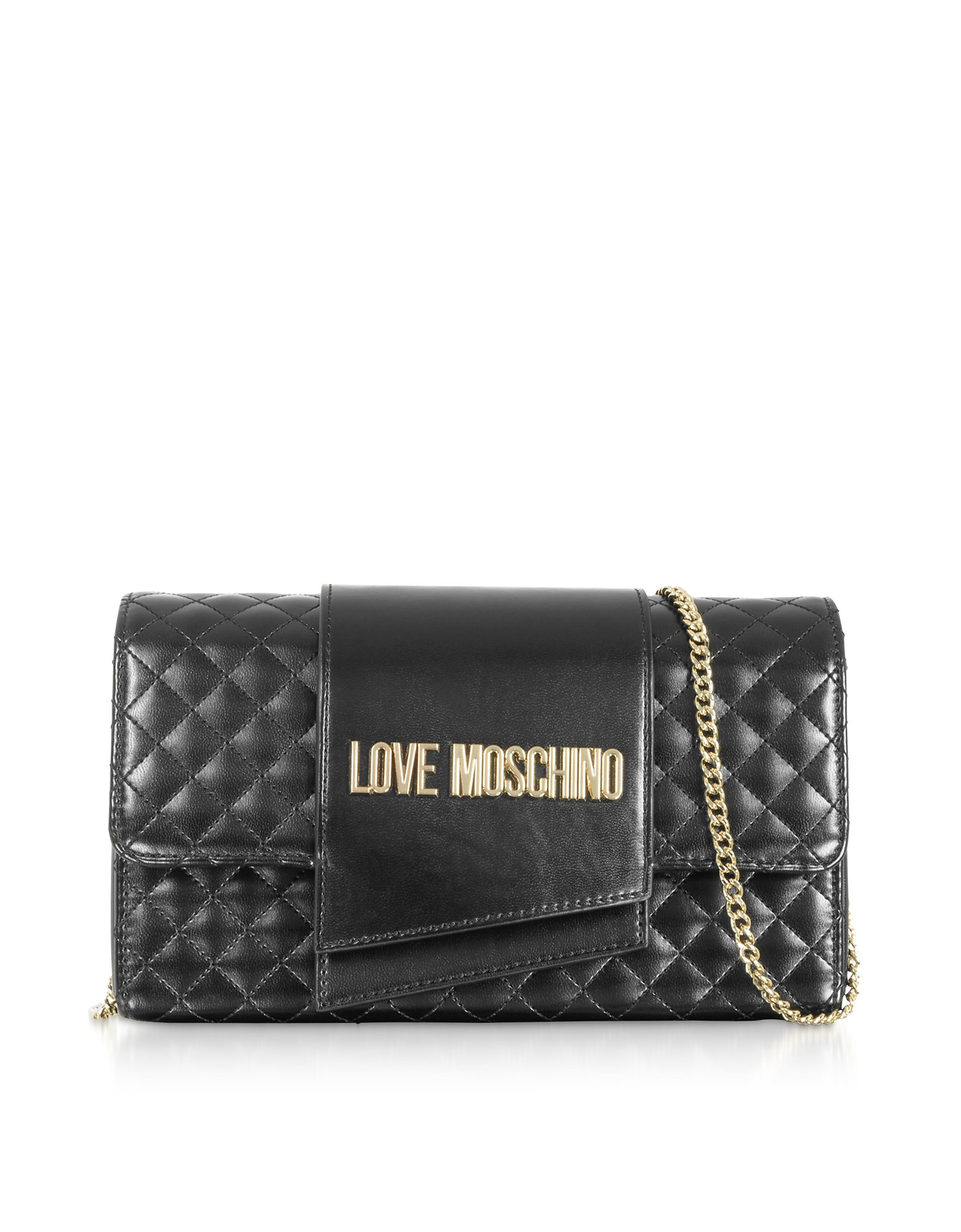 Love Moschino Designer Handbags, Quilted Eco-leather Clutch Bag