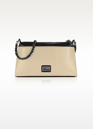 Love Moschino - Ivory and Black Patent Eco Leather Bag - Moschino