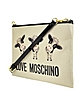 Cow Canvas and Patent Shoulder Bag - Moschino