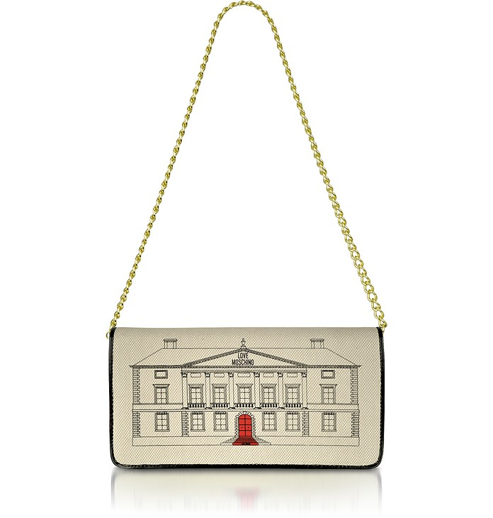 Palazzo - Canvas and Patent Shoulder Bag - Moschino