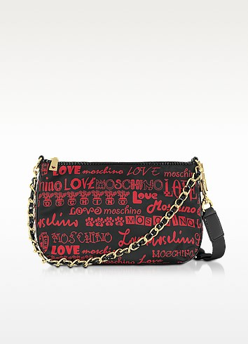 Love Moschino - Black Signature Canvas Shoulder Bag - Moschino