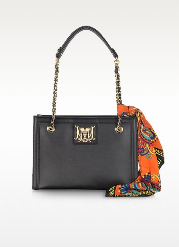 Black Saffiano Leather Shoulder Bag - Moschino