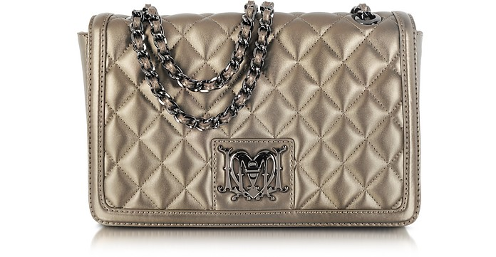 Metallic Quilted Eco Leather Shoulder Bag - Moschino