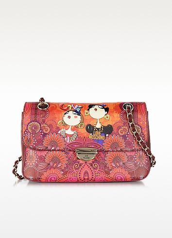 Printed Saffiano Eco Leather Shoulder Bag - Moschino