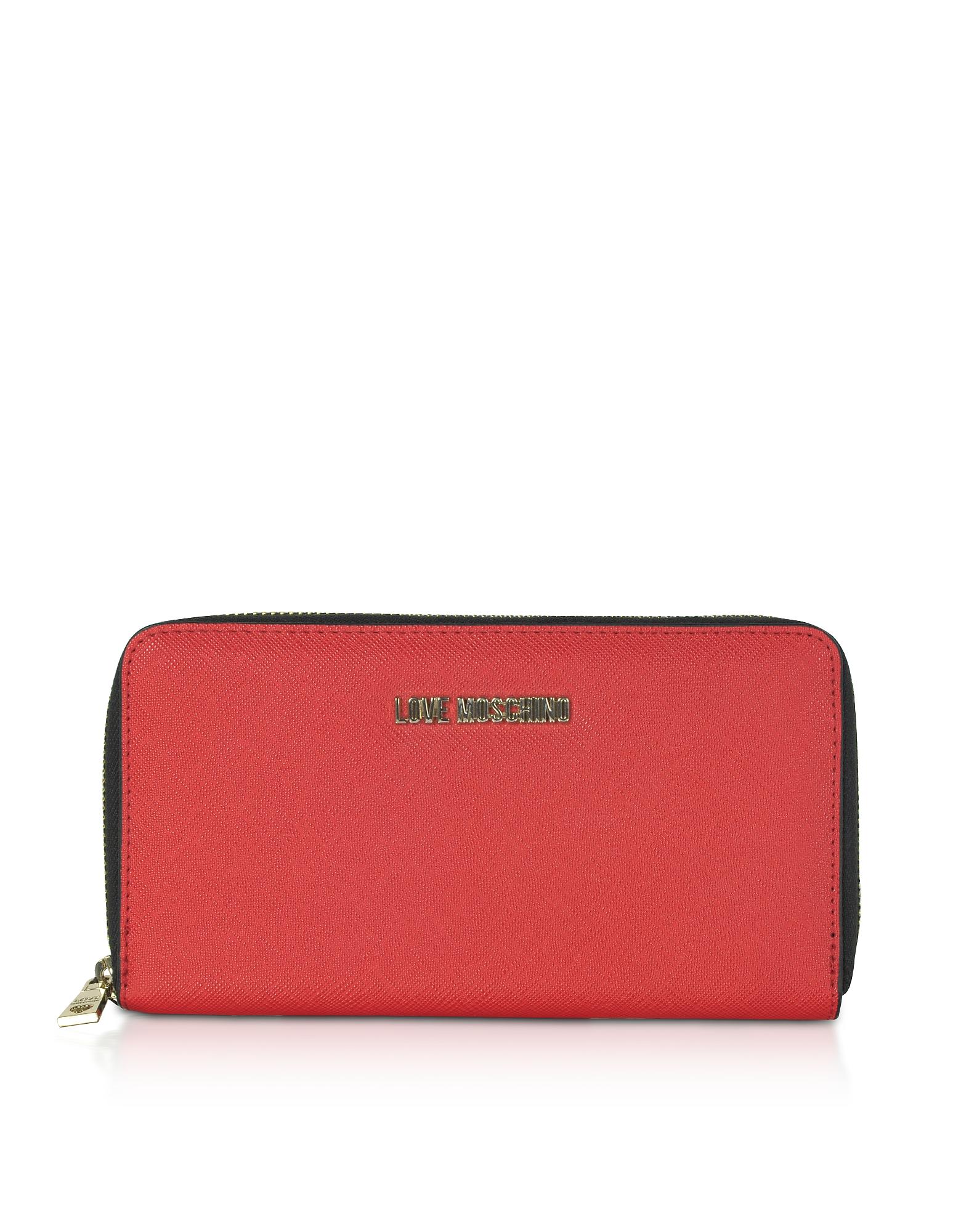 Love Moschino Designer Wallets, Red Saffiano Eco-Leather Zip-Around Women's Wallet