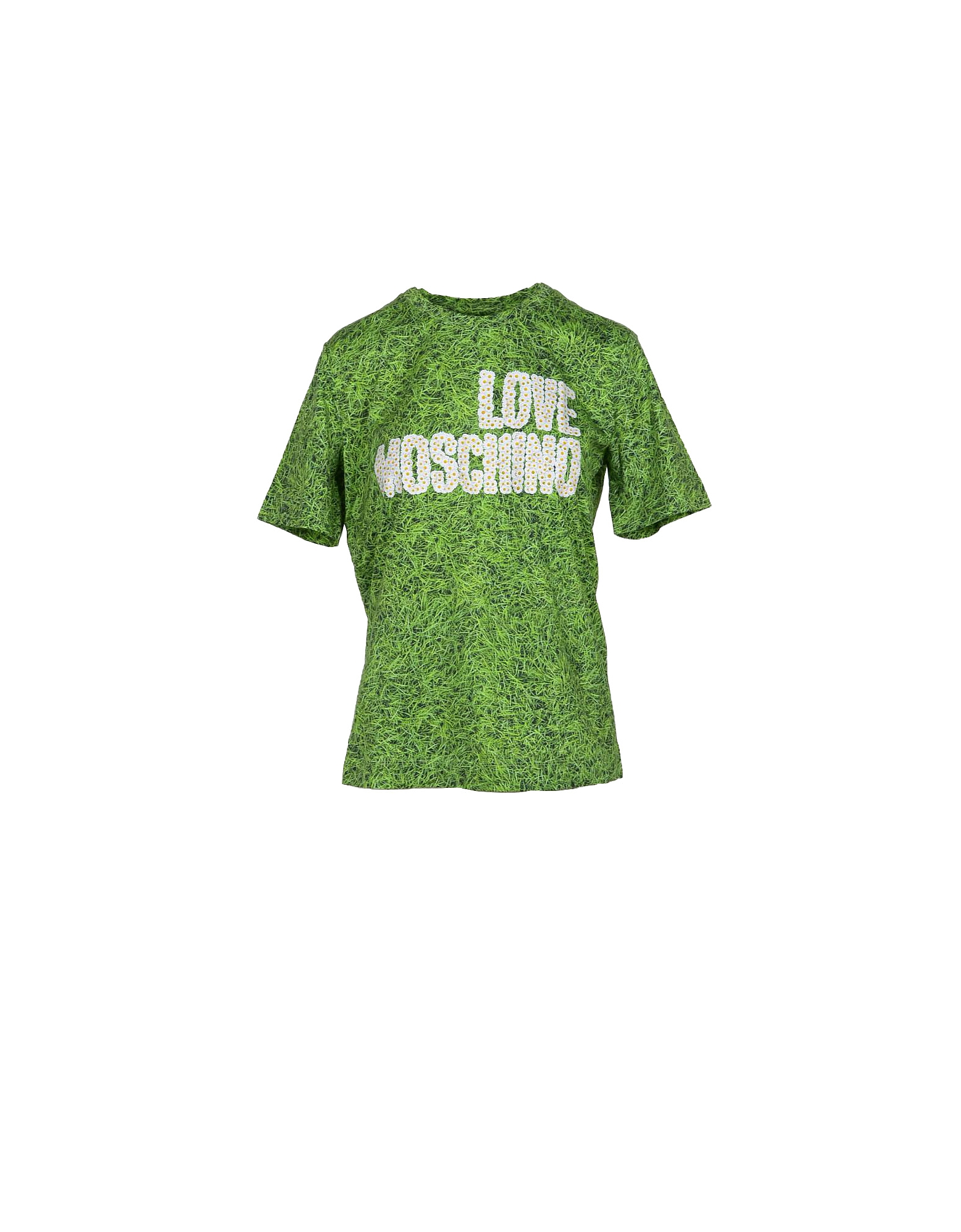 Love Moschino Designer T-Shirts & Tops, Grass Green Printed Cotton Women's T-Shirt w/Daisy Signature