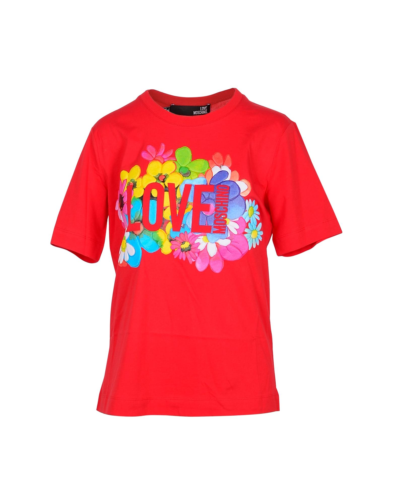 Love Moschino Designer T-Shirts & Tops, Flower Print Red Cotton Women's T-Shirt