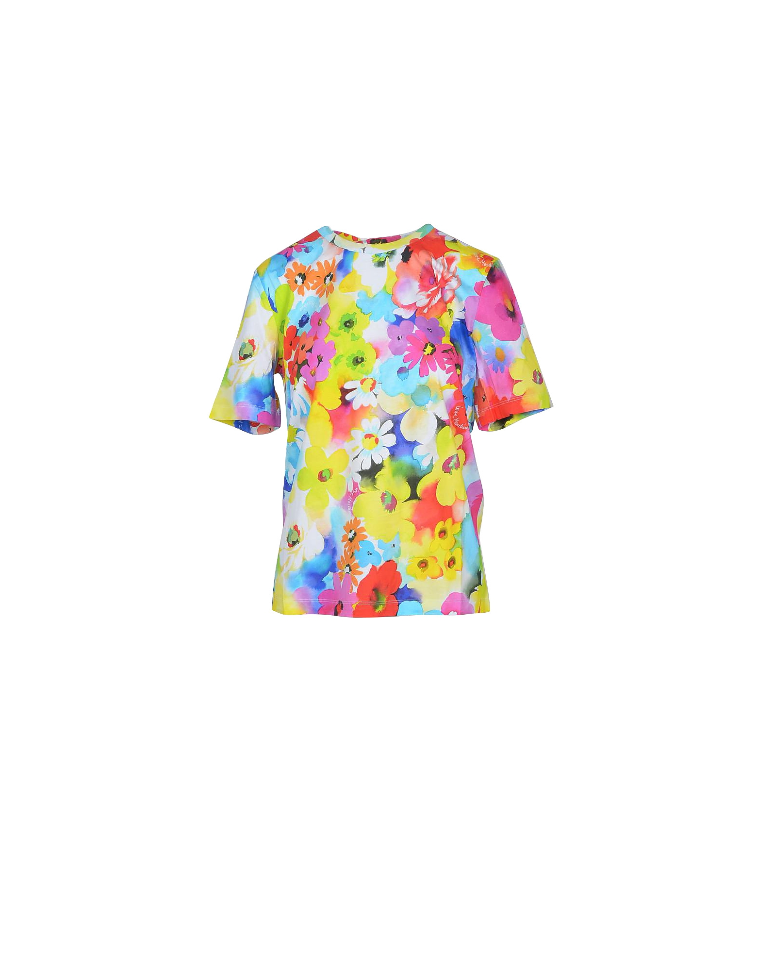 Love Moschino Designer T-Shirts & Tops, Floral Printed Cotton Women's T-Shirt