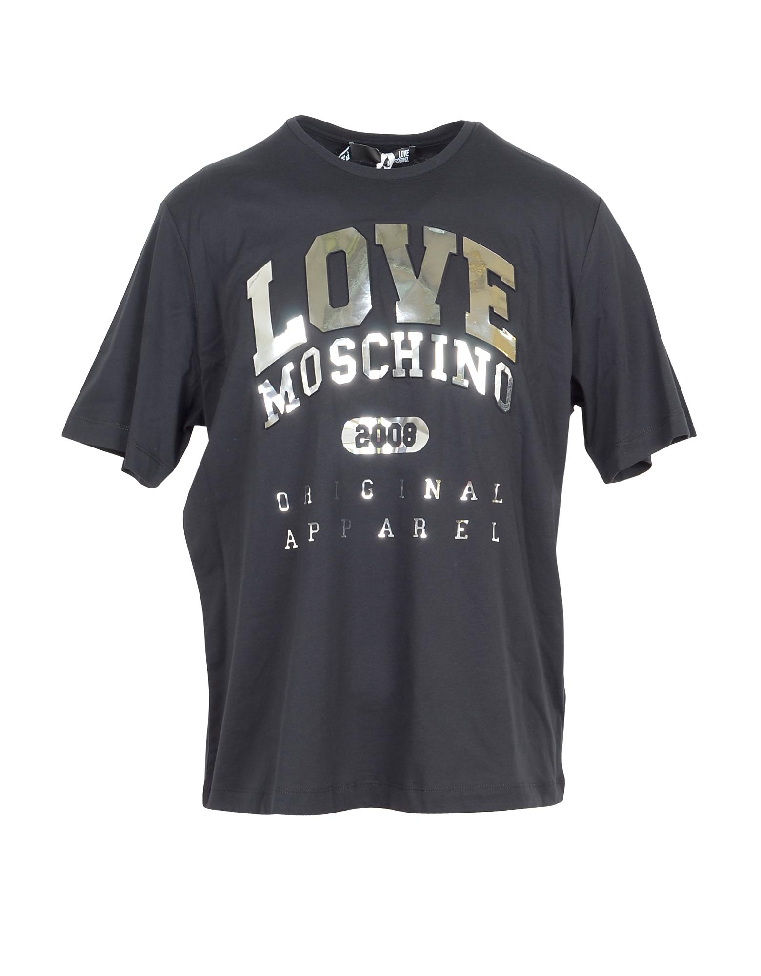 Love Moschino Designer T-Shirts & Tops, Black & Gold Signature Cotton Women's T-Shirt