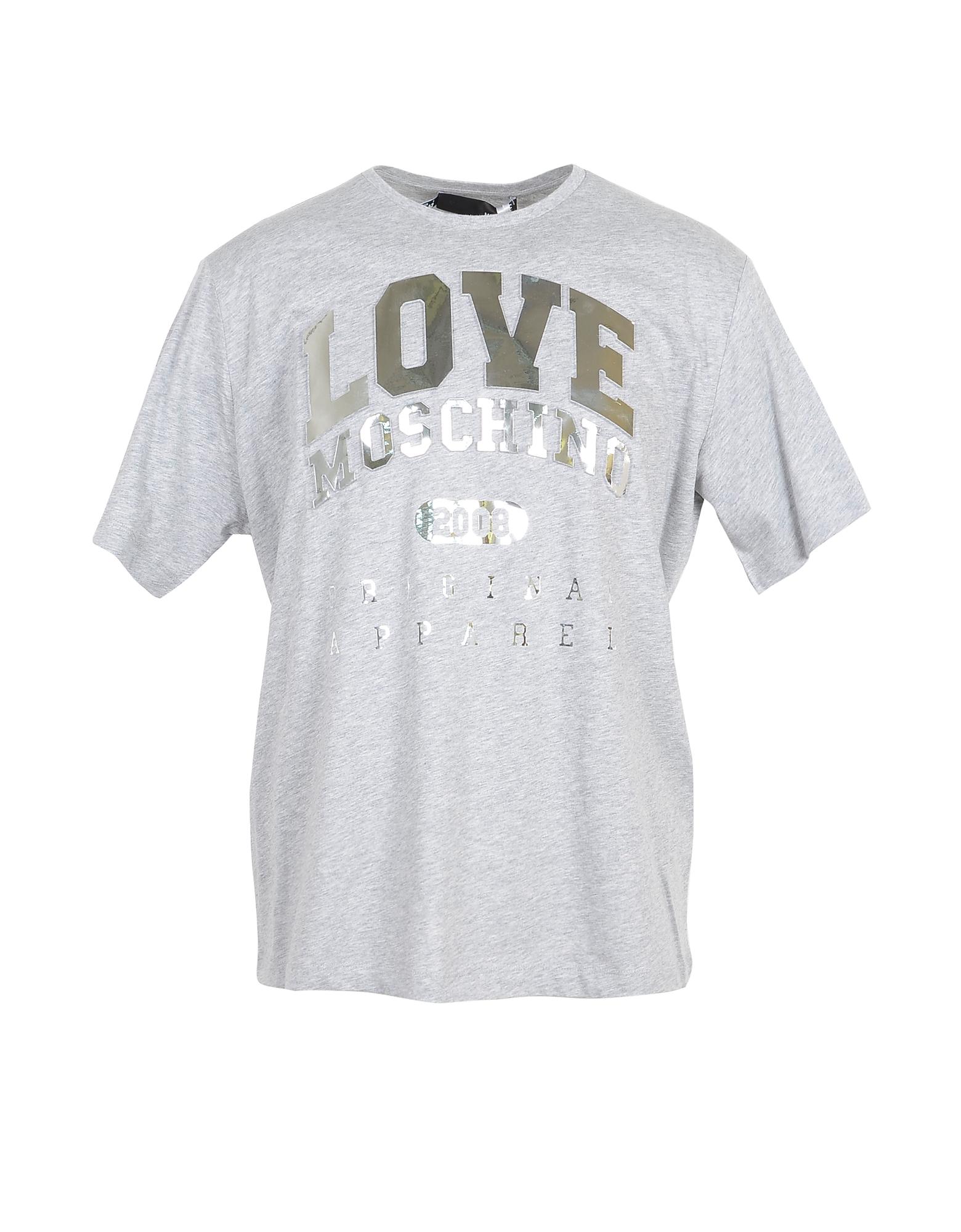 Love Moschino Designer T-Shirts & Tops, Melange Gray & Gold Signature Cotton Women's T-Shirt