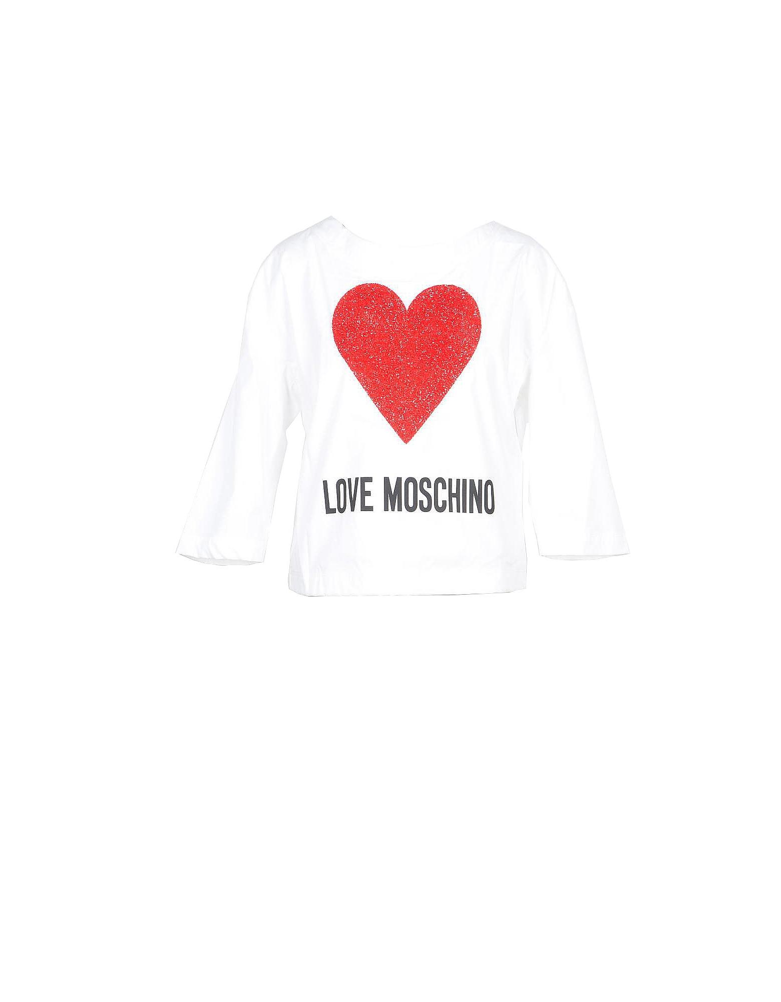 Love Moschino Designer T-Shirts & Tops, White Cotton Women's Long Sleeve T-Shirt w/Crystals Heart