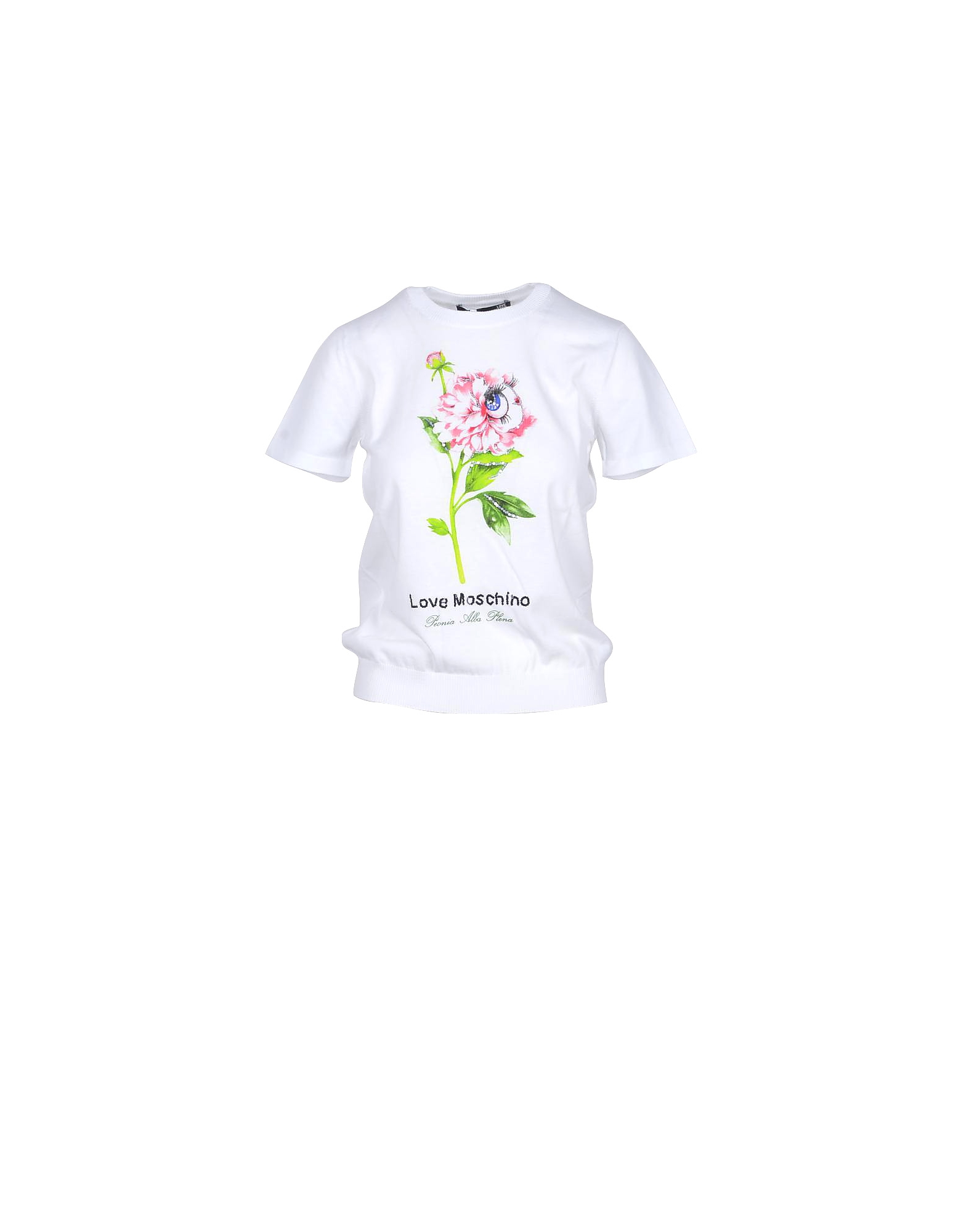 Love Moschino Designer T-Shirts & Tops, White Cotton Women's T-shirt