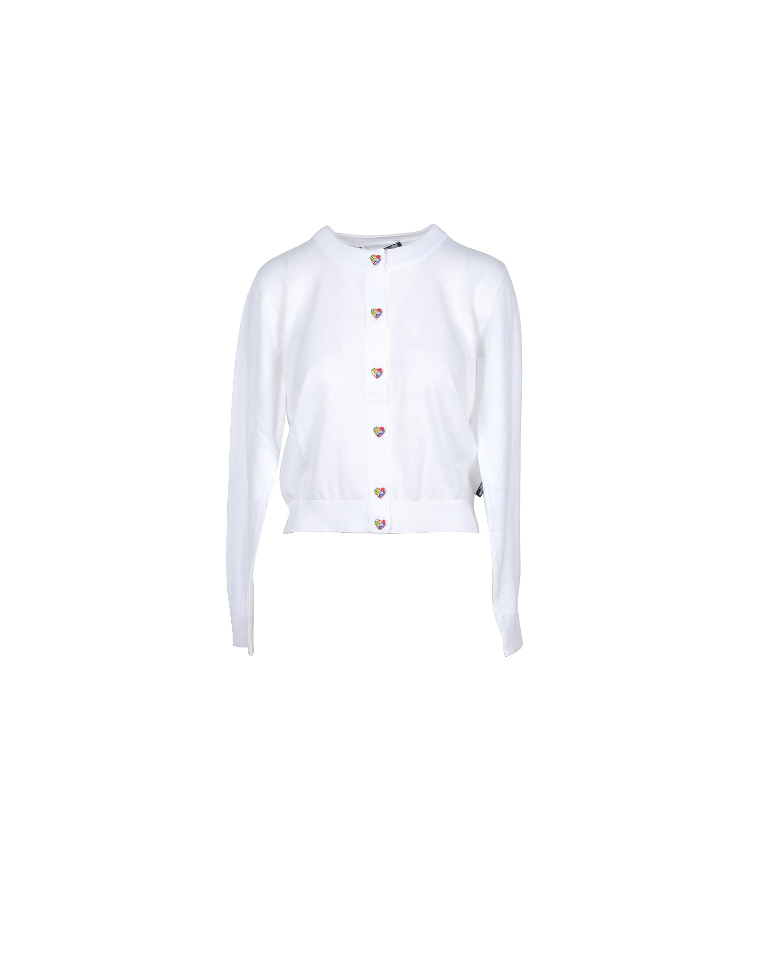 Love Moschino Designer Knitwear, White Cotton Women's Sweater w/Hearts
