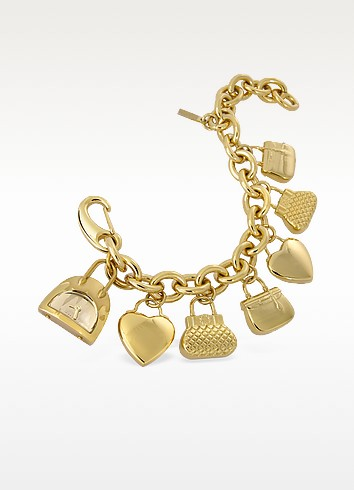Time For Shopping - Gold Plated Charm Bracelet Watch - Moschino