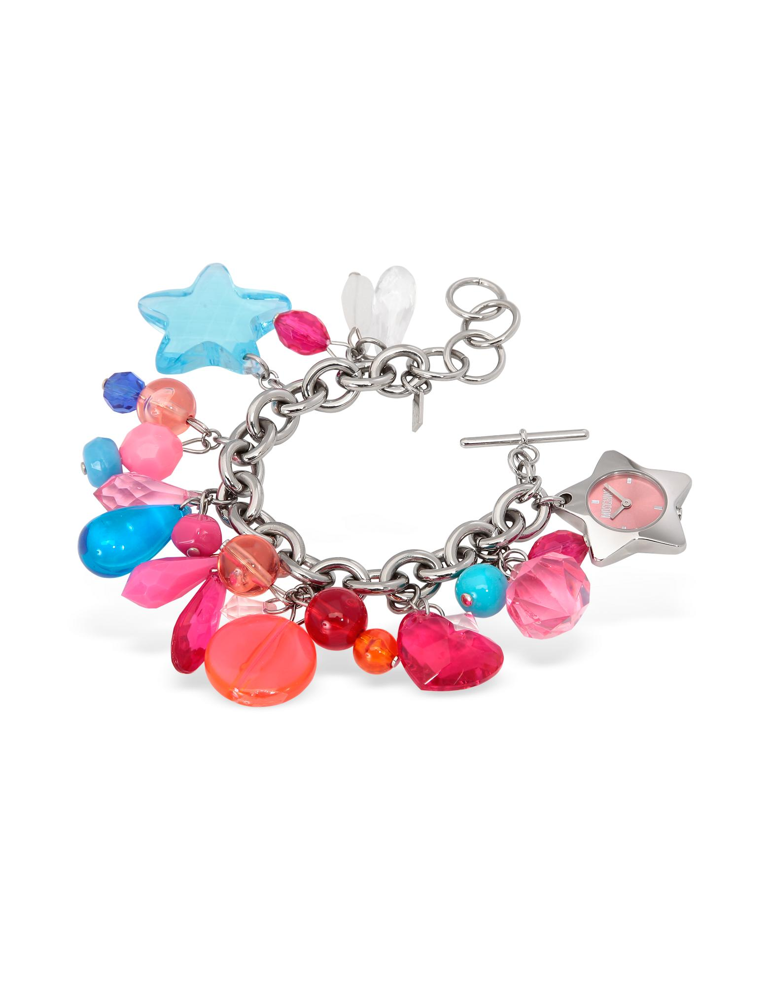 Moschino  Time For Holiday - Pink Stainless Steel Charm Bracelet Watch
