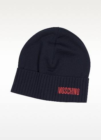 Red Signature Logo and Navy Blue Wool Blend Hat - Moschino