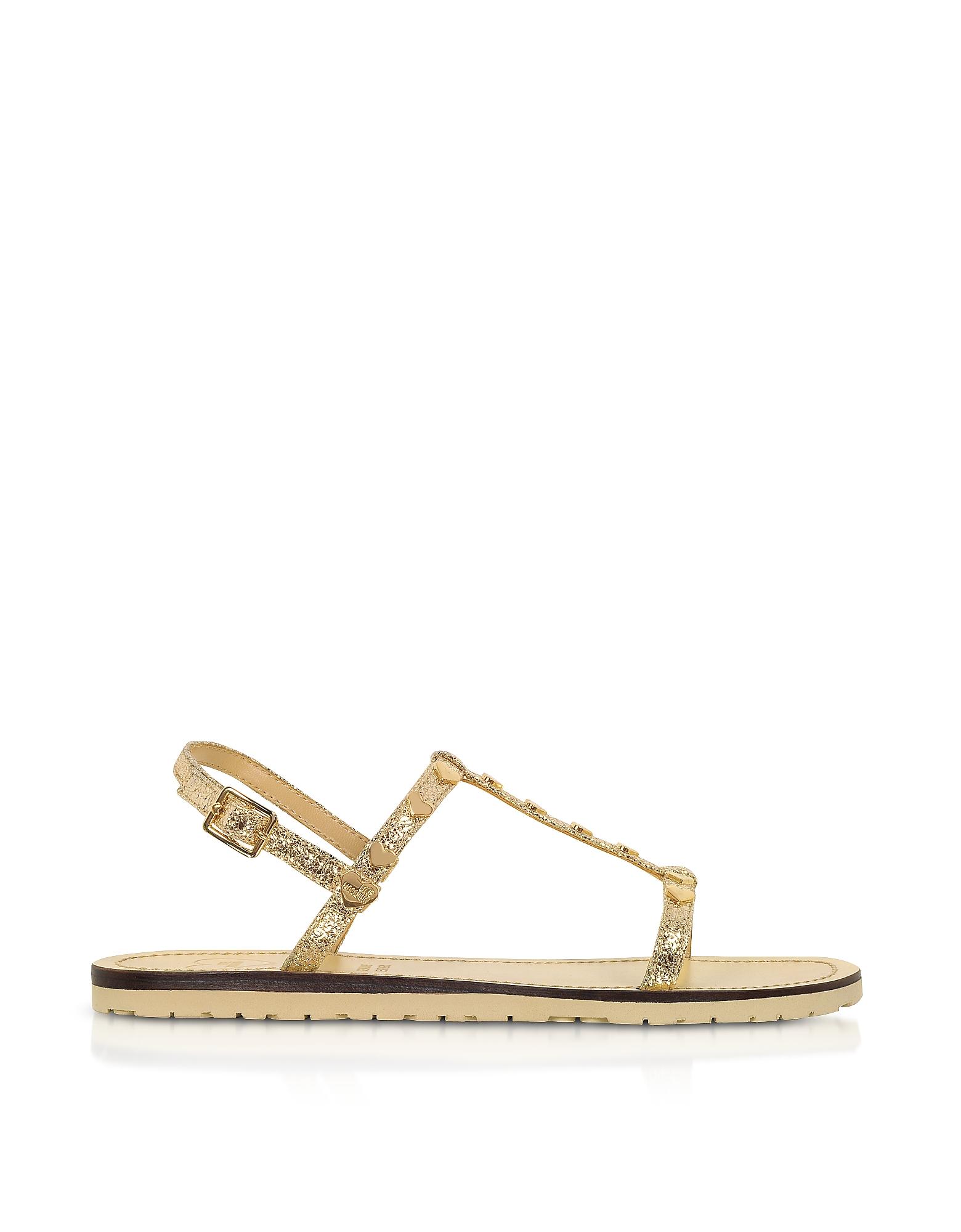 Love Moschino Designer Shoes, Craquelé Laminated Platinum Flat Sandals