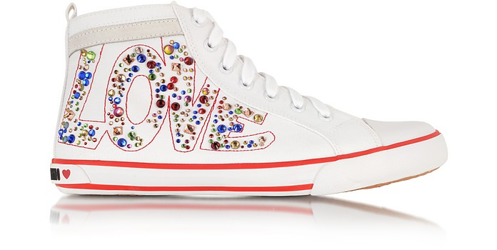 Love Ivory Canvas Sneaker - Moschino
