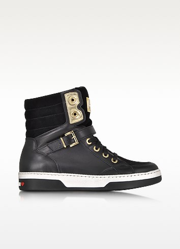 Love Moschino Black Leather and Suede High Top Sneaker - Moschino