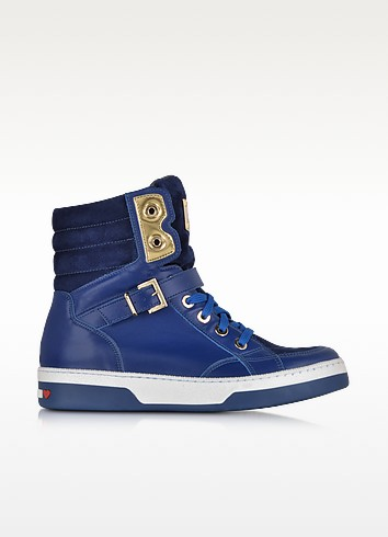 Love Moschino Blue Leather and Suede High Top Sneaker - Moschino