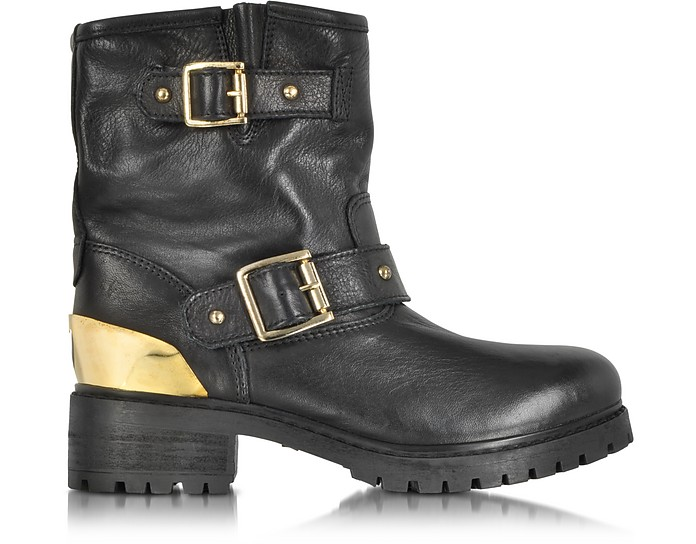 Love Moschino Black Leather Ankle Boot w/Buckles - Moschino